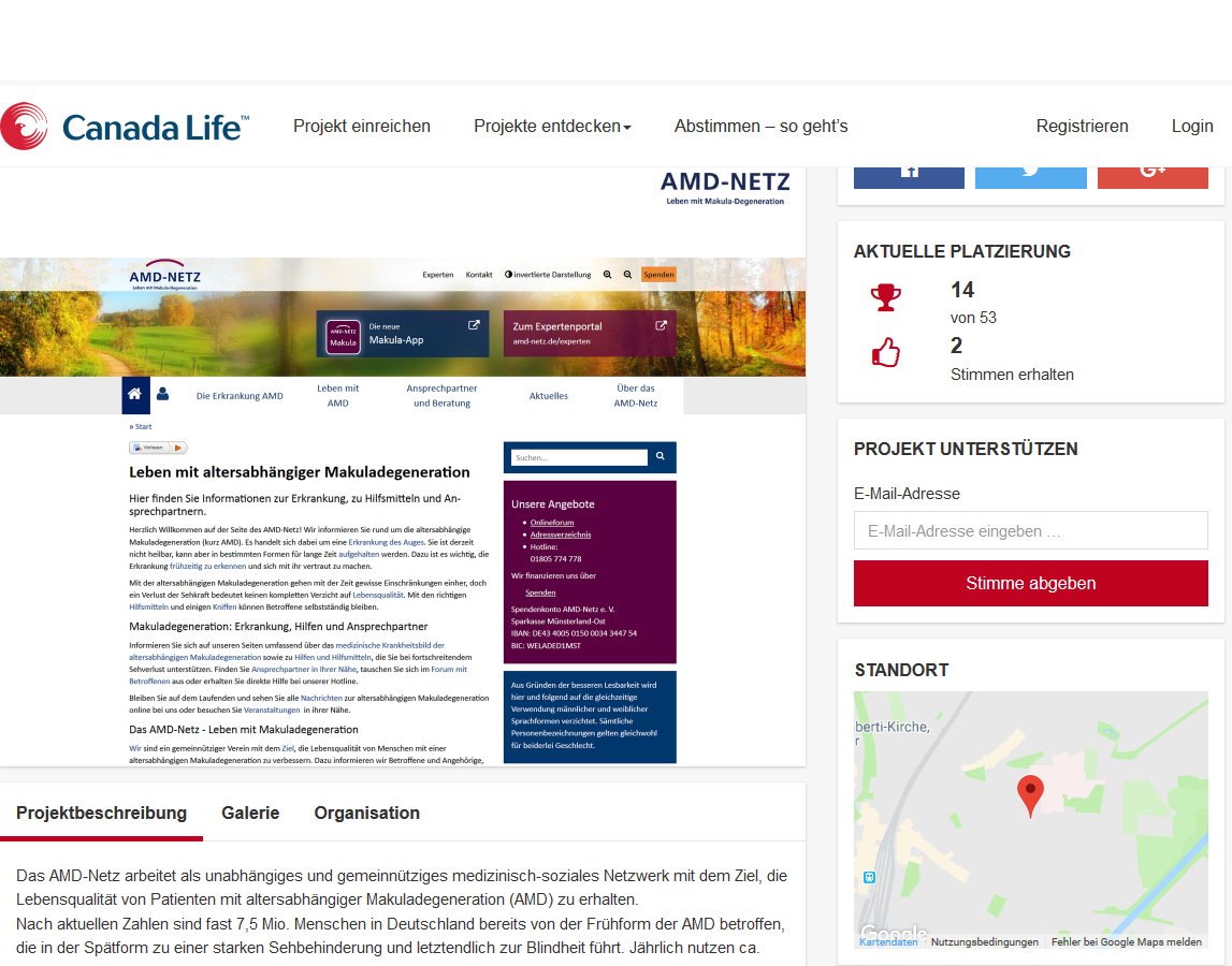 Screenshot der Aktionswebsite bei machsmoeglich.canadalife.de